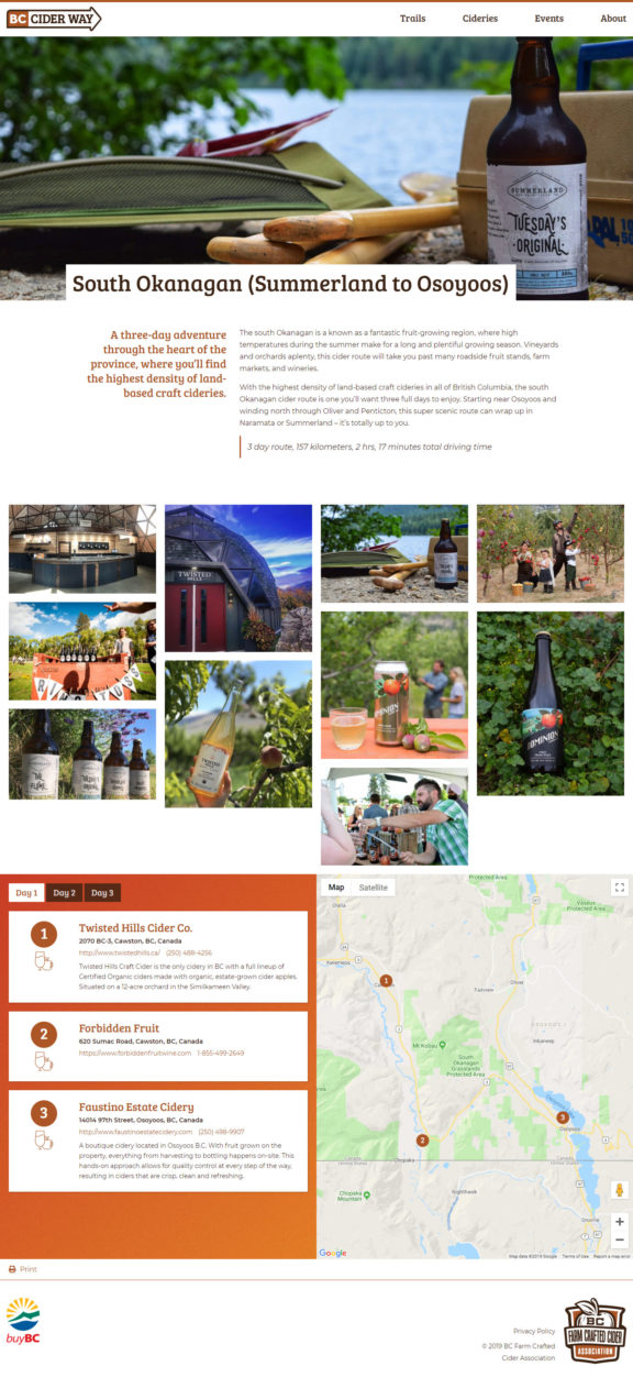 BC Cider Way trail page