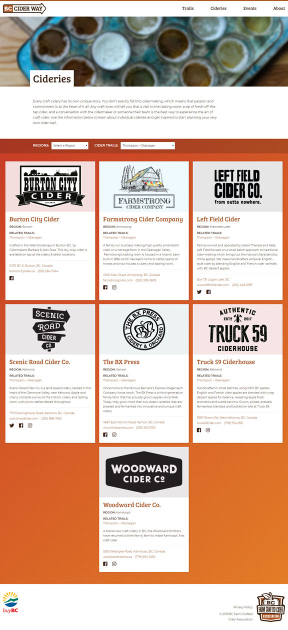 BC Cider Way cideries page