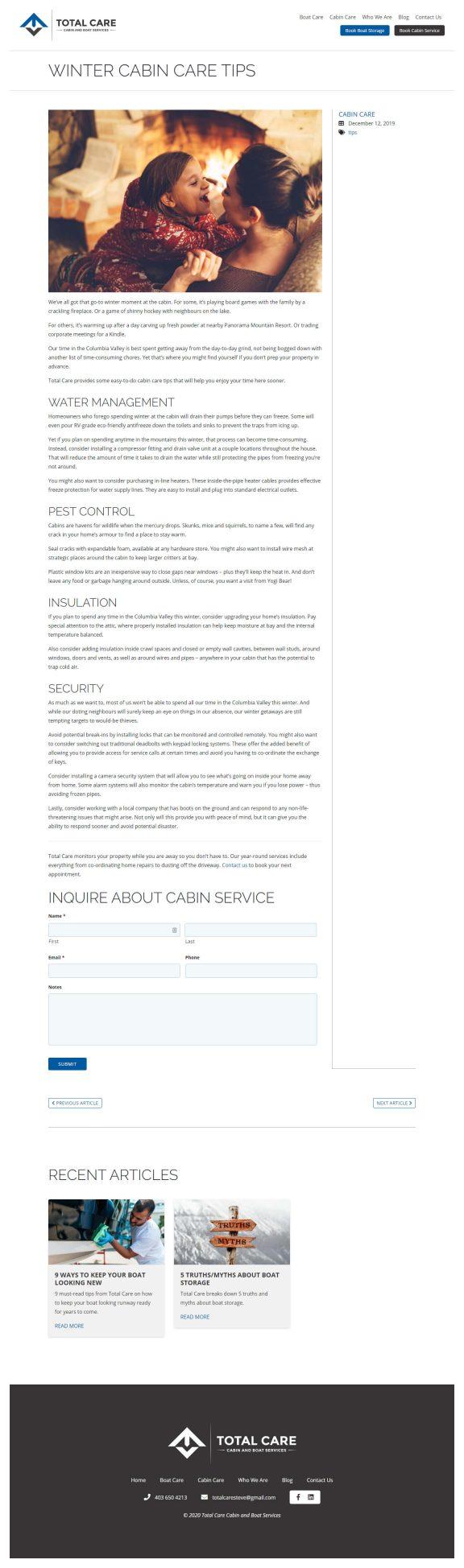 Total Care Ltd website blog article